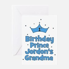 1st Birthday Prince Jordons Grandma Greeting Card