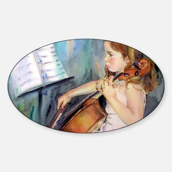 Little Girl Cellist Sticker (Oval)