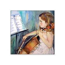 "Little Girl Cellist Square Sticker 3"" x 3"""