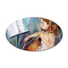 Little Girl Cellist 35x21 Oval Wall Decal