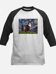Starry Night & Calico Cat (#1 Kids Baseball Jersey