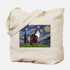 Starry Night & Calico Cat (#1 Tote Bag