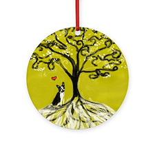 Boston Terrier love Tree of life heart Ornament (R