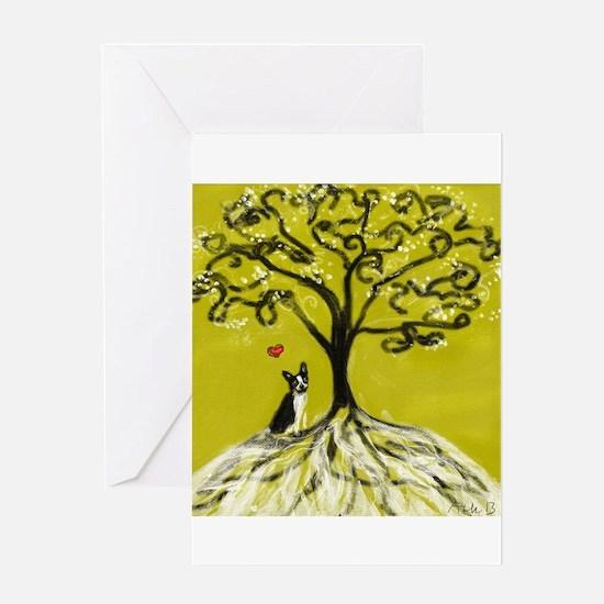 Boston Terrier love Tree of life heart Greeting Ca