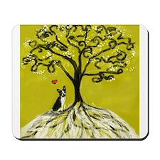 Boston Terrier love Tree of life heart Mousepad