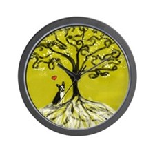 Boston Terrier love Tree of life heart Wall Clock