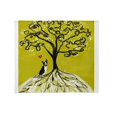 Boston Terrier love Tree of life heart Throw Blank
