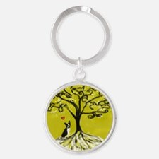 Boston Terrier love Tree of life heart Keychains