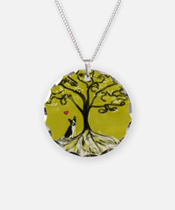 Boston Terrier love Tree of life heart Necklace