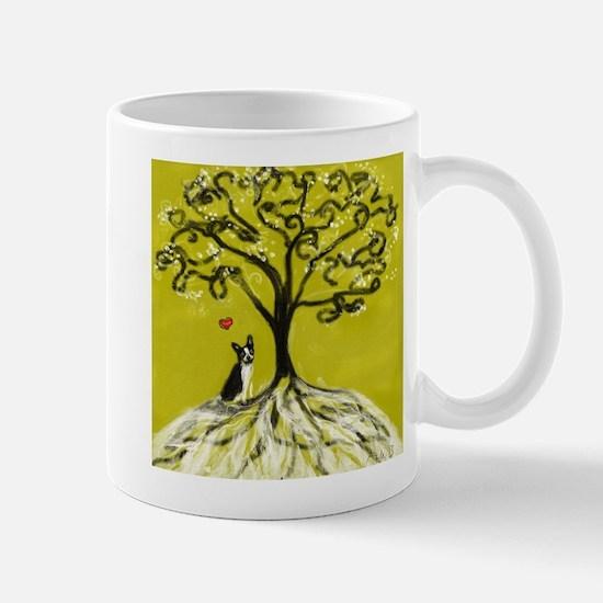 Boston Terrier love Tree of life heart Mugs
