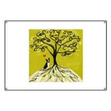 Boston Terrier love Tree of life heart Banner