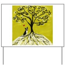 Boston Terrier love Tree of life heart Yard Sign