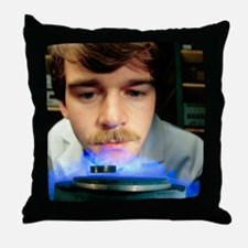 Magnetic levitation of superconductor Throw Pillow
