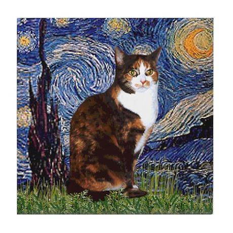 Starry Night & Calico Cat (#1 Tile Coaster