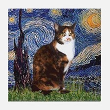 Starry Night & Calico Cat (#1 Tile Coaster