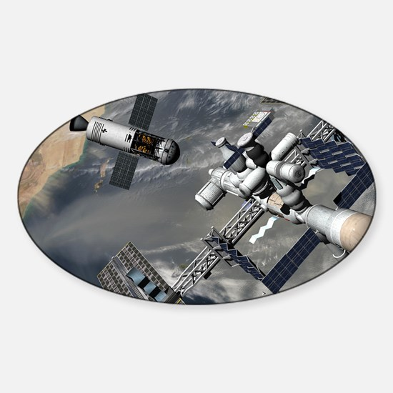 Lunar tug and the ISS, artwork Sticker (Oval)