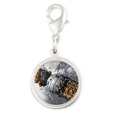Lunar tug and lander, artwork Silver Round Charm