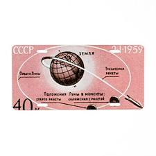 Luna 1 commemmorative stamp Aluminum License Plate
