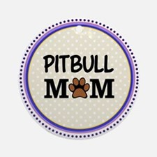 Pitbull Dog Mom Ornament (Round)