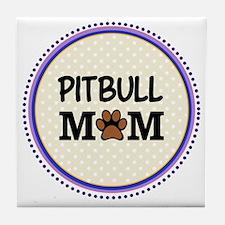 Pitbull Dog Mom Tile Coaster