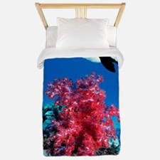 Longfin bannerfish and soft corals Twin Duvet