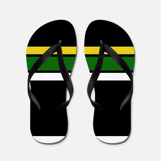 Team Colors 2 ...Yellow,green and white Flip Flops