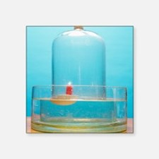 "Lit candle under bell jar Square Sticker 3"" x 3"""