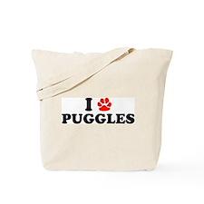 I Heart (Pawprint) Puggles Tote Bag