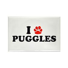 I Heart (Pawprint) Puggles Rectangle Magnet