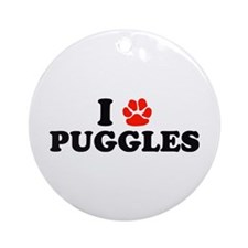I Heart (Pawprint) Puggles Ornament (Round)