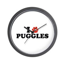 I Heart (Pawprint) Puggles Wall Clock