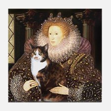 The Queen's Calico Cat (#1) Tile Coaster