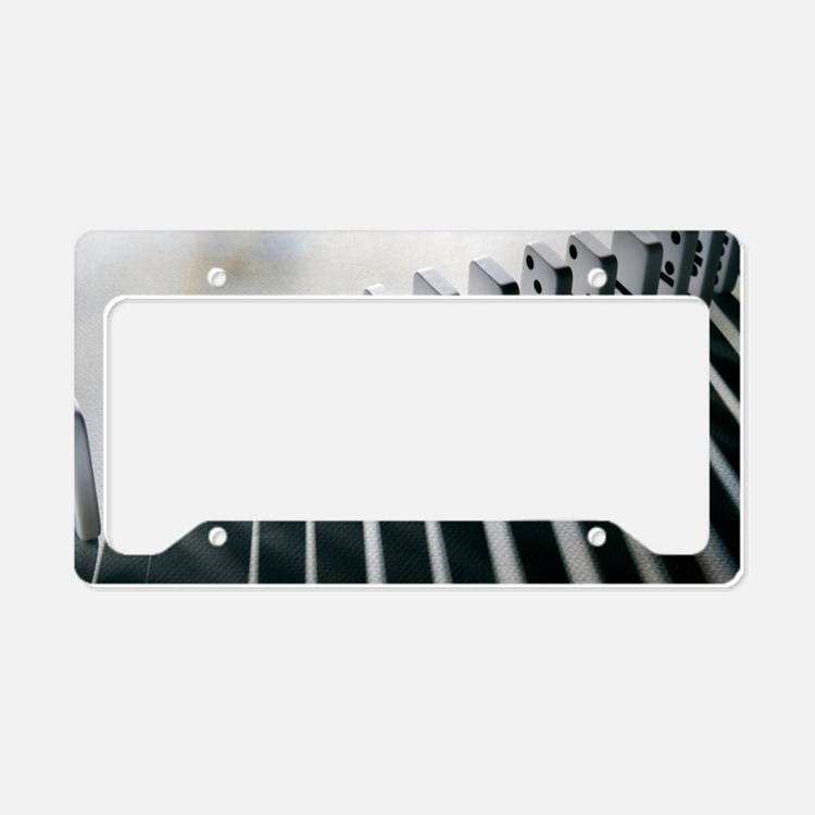 Lined up dominoes License Plate Holder