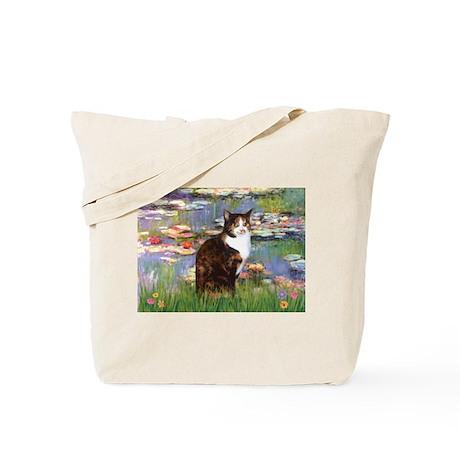 Lilies & Calico Cat Tote Bag