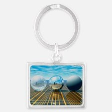 Light reflection from 3 spheres Landscape Keychain