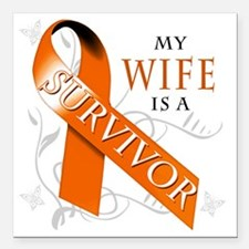 """My Wife is a Survivor Square Car Magnet 3"""" x 3"""""""