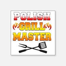 """Polish Grill Master Apron Square Sticker 3"""" x 3"""""""