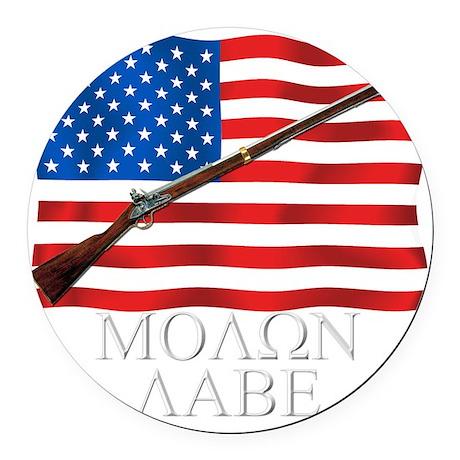 Molon Labe Musket Dark Round Car Magnet