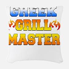 Greek Grill Master Dark Apron Woven Throw Pillow