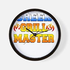 Greek Grill Master Dark Apron Wall Clock