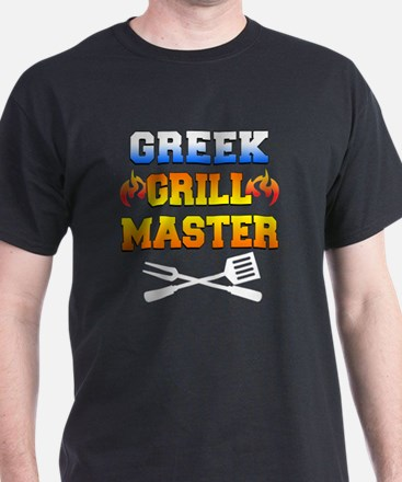 Greek Grill Master Dark Apron T-Shirt