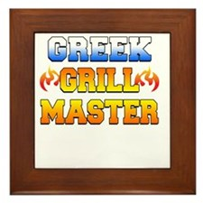 Greek Grill Master Dark Apron Framed Tile