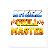 """Greek Grill Master Dark Apr Square Sticker 3"""" x 3"""""""