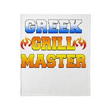 Greek Grill Master Dark Apron Throw Blanket