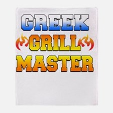Greek Grill Master Dark Apron Throw Blanket