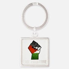 Free Palestine White Square Keychain