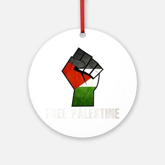Free Palestine White Round Ornament