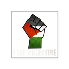 "Free Palestine White Square Sticker 3"" x 3"""