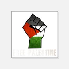 "Free Palestine White Square Sticker 3"" x 3"""