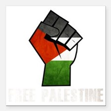 "Free Palestine White Square Car Magnet 3"" x 3"""